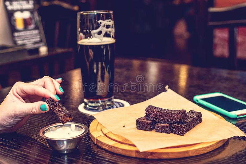 Food and beer at the pub royalty free stock photos
