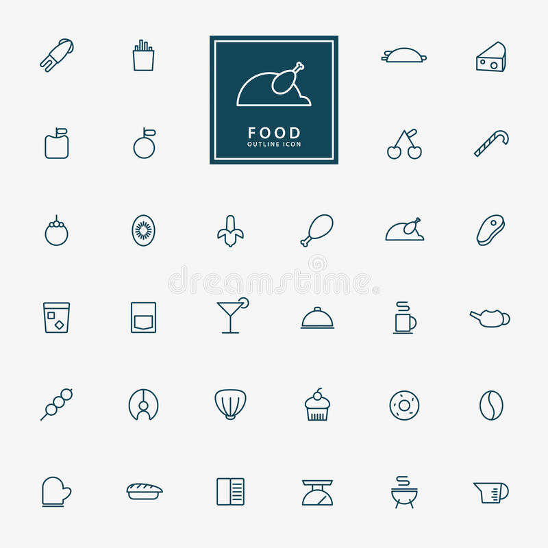 32 food and beverage line icons royalty free illustration