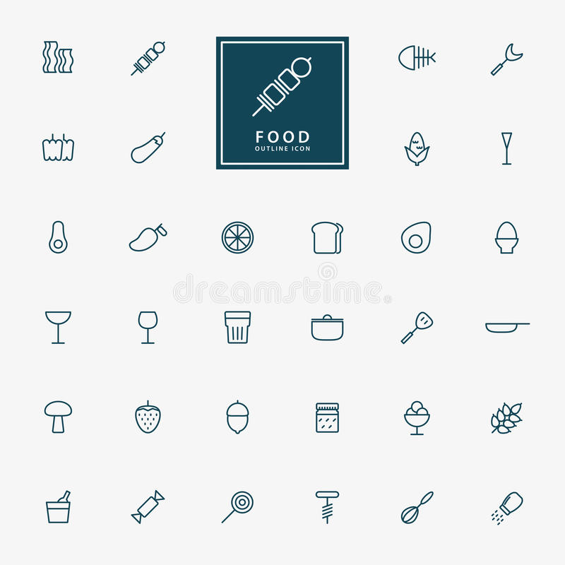 32 food and beverage minimal outline icons royalty free illustration