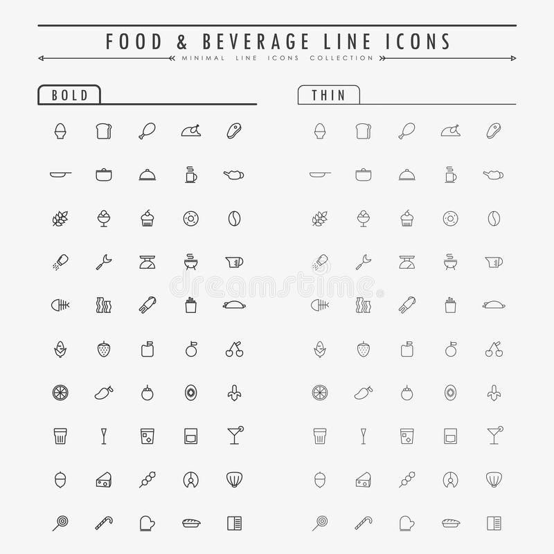 Food and beverage outline icons on bold and thin line concept stock illustration