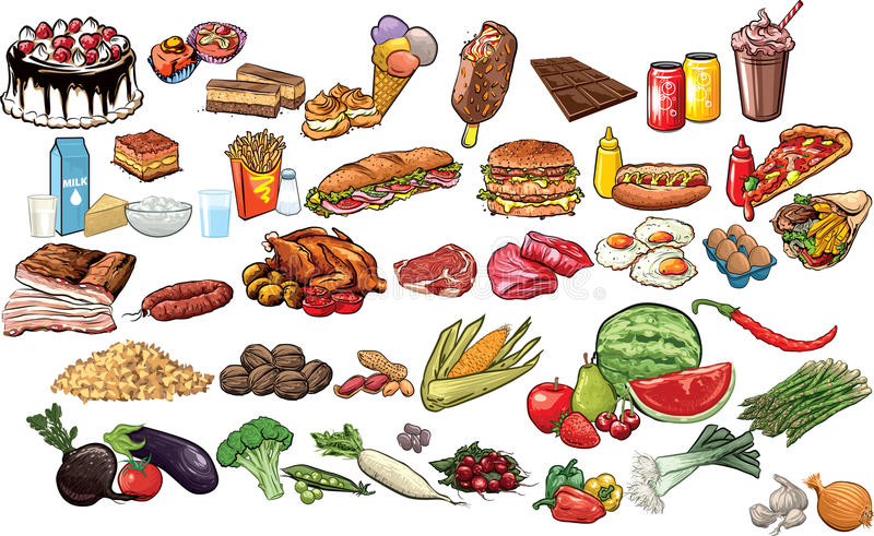 Food and beverages stock illustration