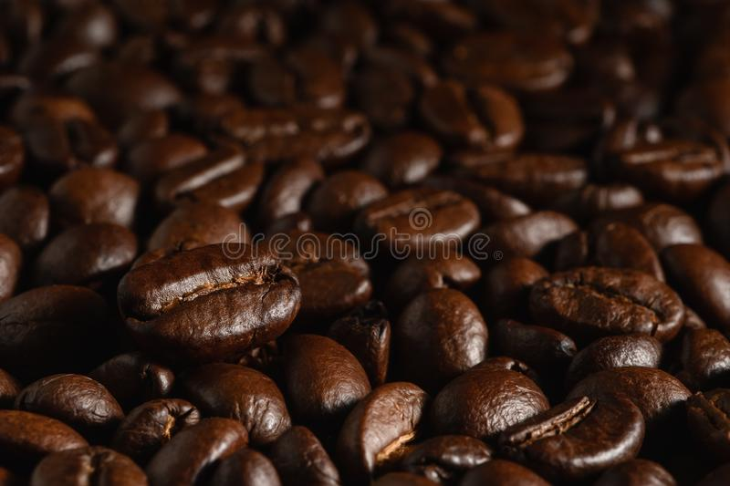Food and bevergae background of close up of roasted a arabica coffee bean on roasted coffee beans background royalty free stock photos