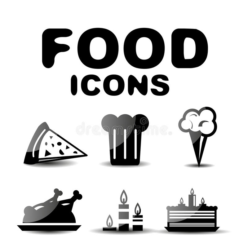 Download Food black glossy icon set stock vector. Image of fork - 31240343