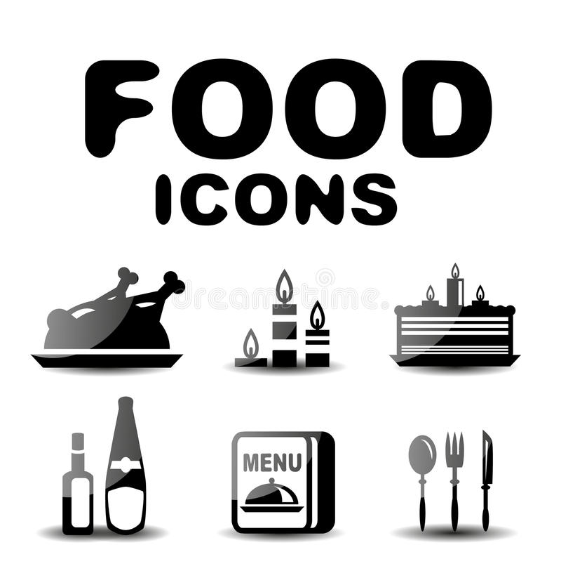 Download Food black glossy icon set stock vector. Illustration of fish - 31240367
