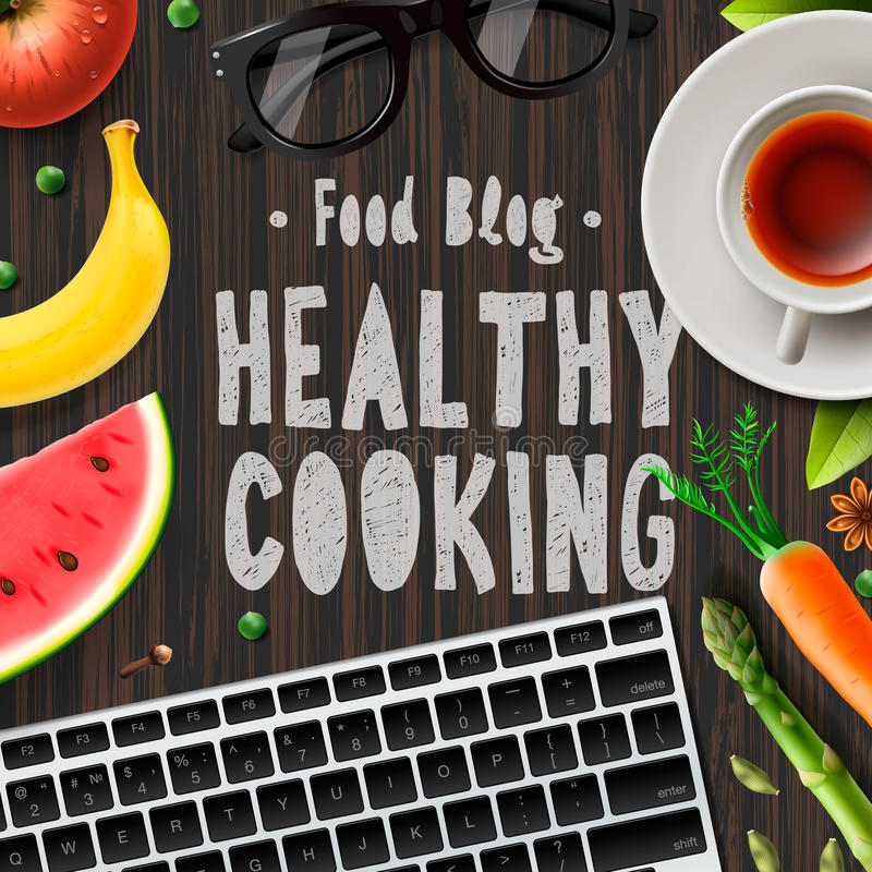 Food blog, healthy cooking, lifestyle stock illustration