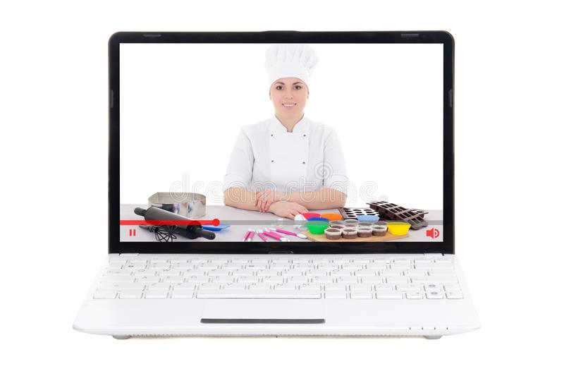 Food blogger concept - laptop with video blogger on screen isolated on white stock images