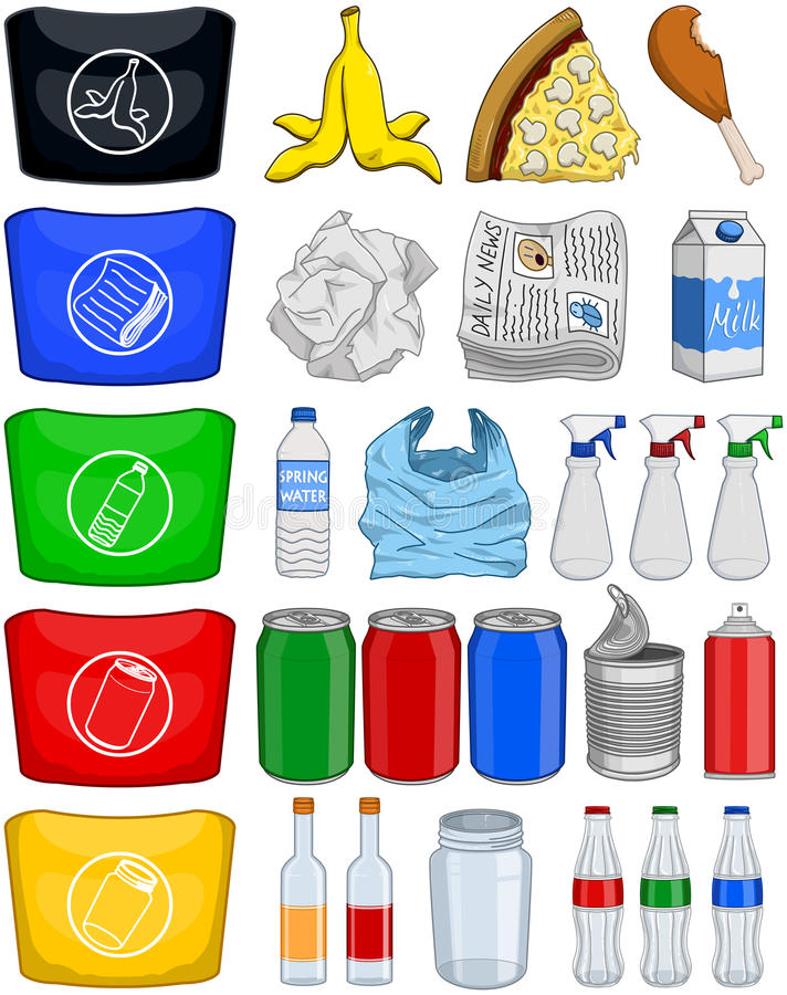 Food Bottles Cans Paper Trash Recycle Pack vector illustration