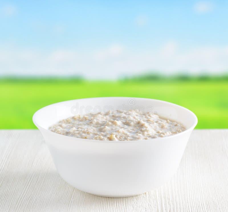 Bowl of oat porridge on nature background royalty free stock photography