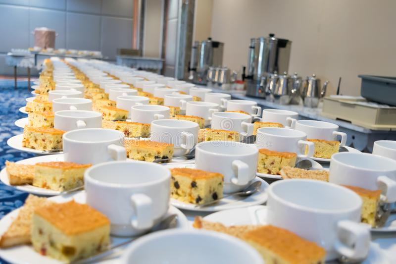Food Breakfast During the meeting. In the room royalty free stock photo