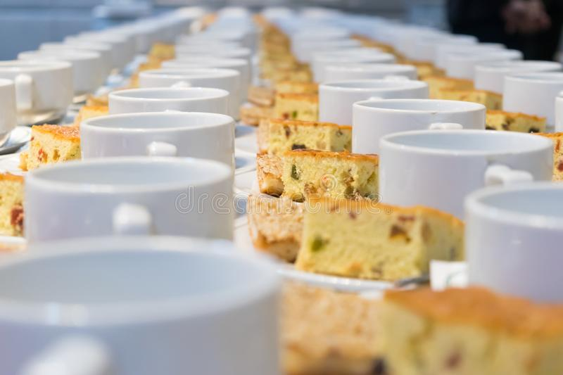 Food Breakfast During the meeting. In the room stock photography