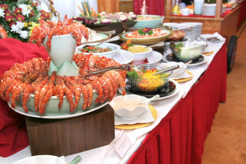 Food in buffet dinner royalty free stock image