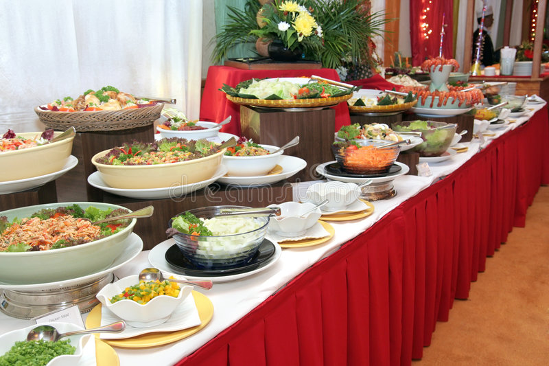 Food in buffet dinner. Salad section food in buffet dinner royalty free stock images