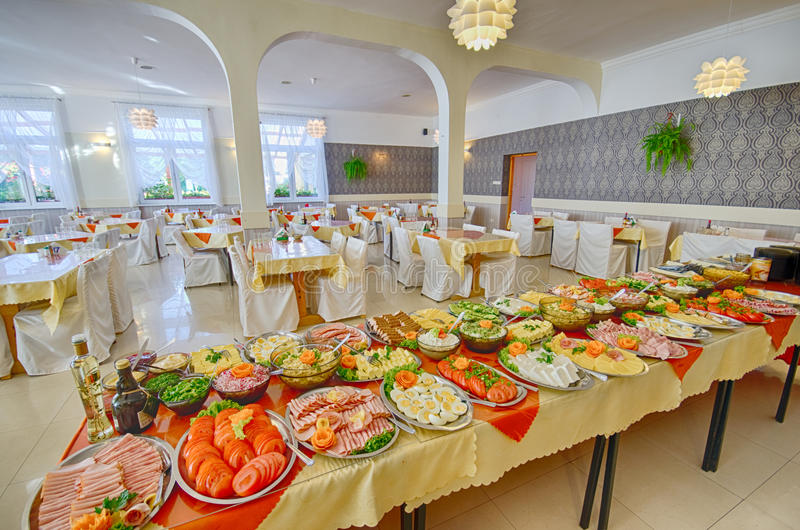 Food buffet. Platters and dishes of Food set up for a large catered dinner or lunch buffet royalty free stock photography