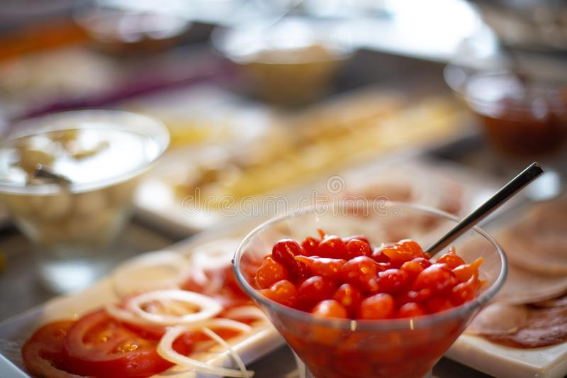Food on the shelves in the self-service buffet. Food buffet in restaurant royalty free stock photography