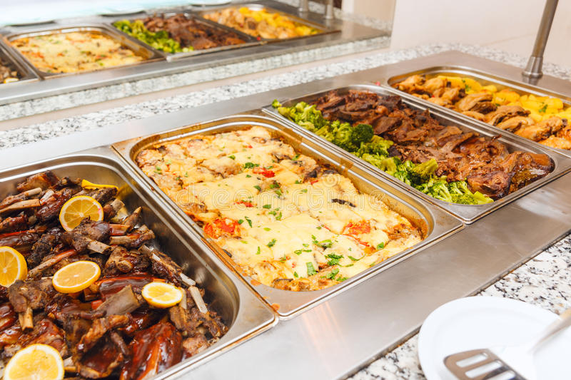 Food buffet self service lunch or dinner. With stew and vegetables stock photo
