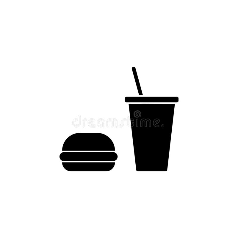 Food, burger, cup icon. Simple glyph vector of universal set icons for UI and UX, website or mobile application. On white background stock illustration