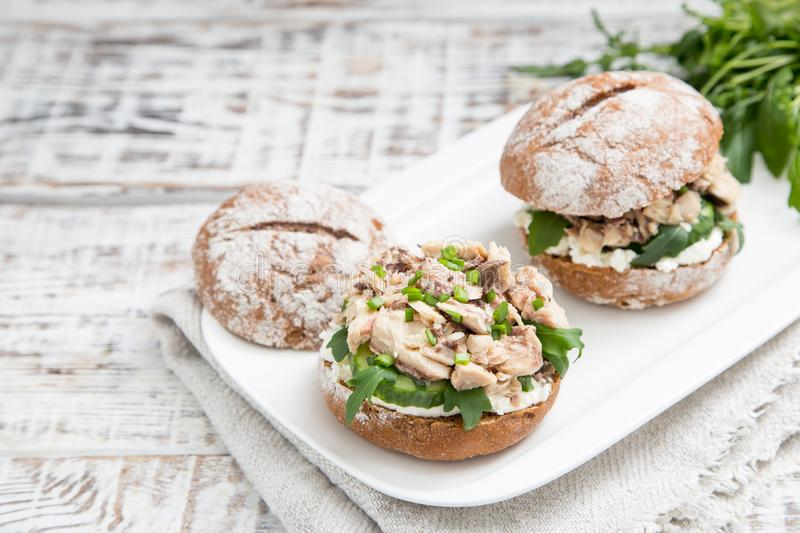 Food burger with tuna, herbs, cucumbers, cottage cheese, onions.  royalty free stock photo