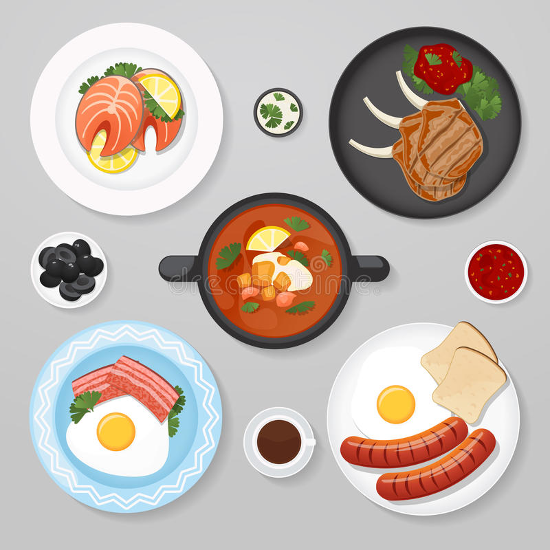 Food business flat lay idea. Food icons top view. Business lunch. Plates with foot on it vector illustration