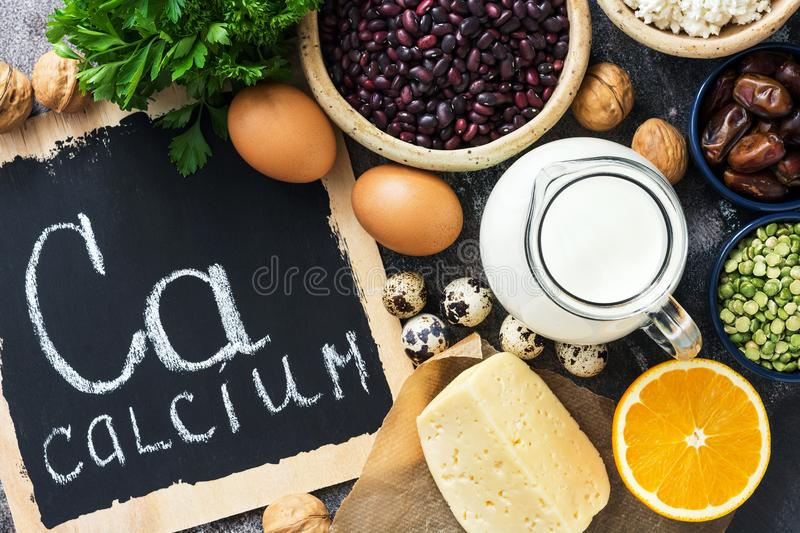 Food with calcium. Products rich in calcium. The view from above, flat lay. stock photos
