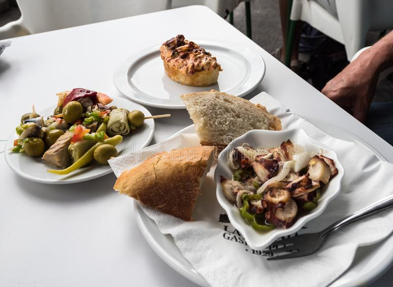 These food is called Pinchos and it was taken in La Ribera, Bilbao, Spain stock photo