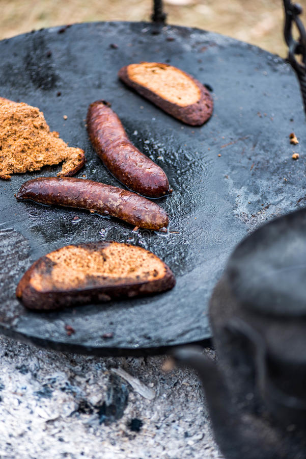 Food, camp fire stock photography