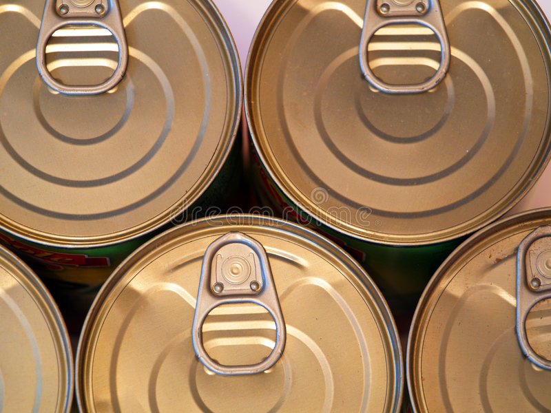 Food cans. Of various sizes and shapes royalty free stock image