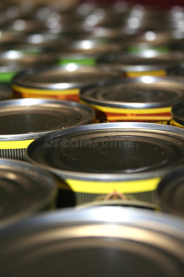 Food cans for charity. Close up shot