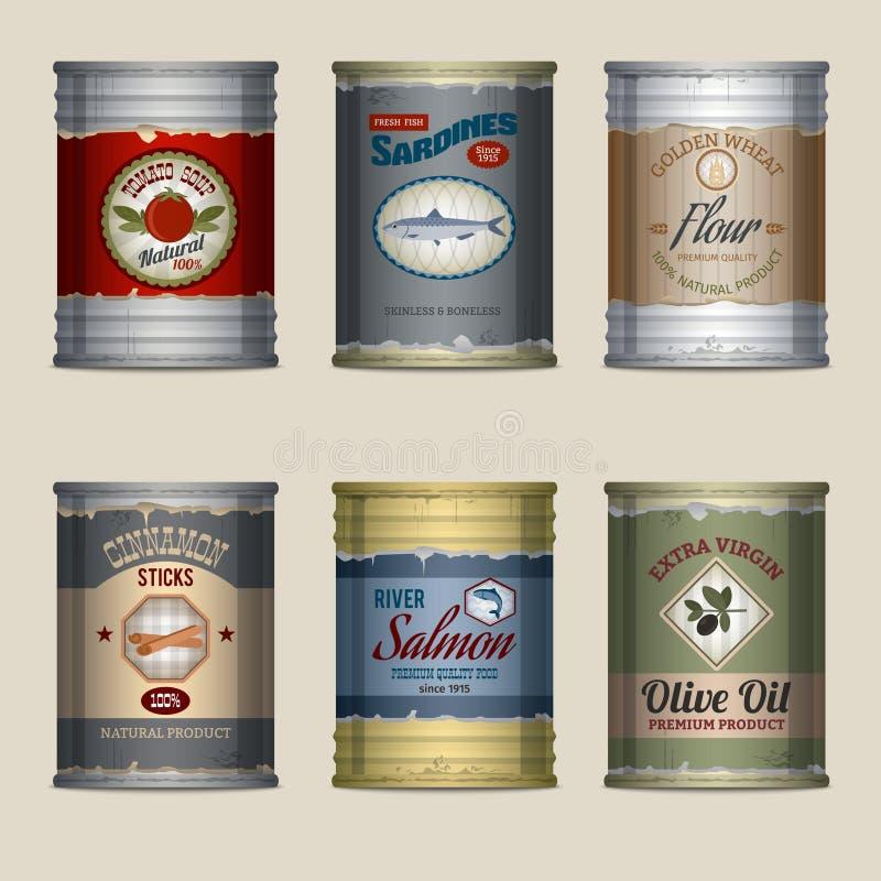 Food cans set royalty free illustration
