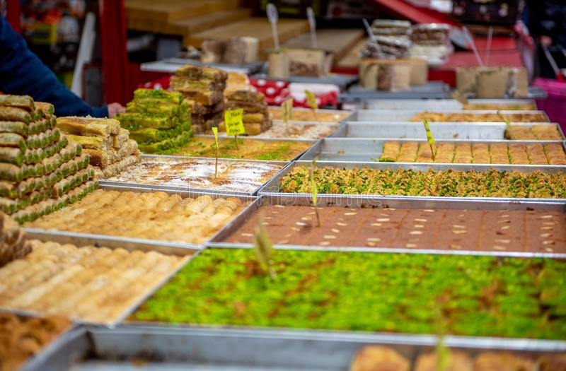 Food in Carmel Market, Tel Aviv, Isreal. stock image