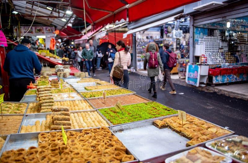 Food in Carmel Market, Tel Aviv, Isreal. royalty free stock photos