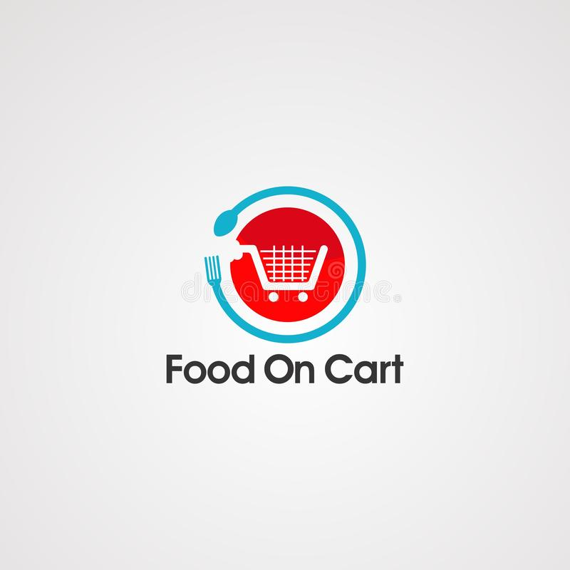Food on cart logo vector, icon, template, and element vector illustration