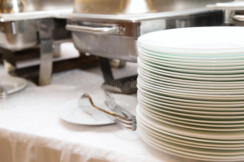 Food catering service. Buffet table with pans royalty free stock photo