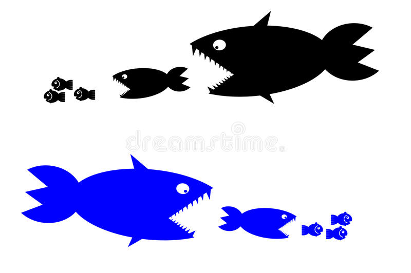 Food chain. A small fish is food for big fish,metaphorical vector illustration