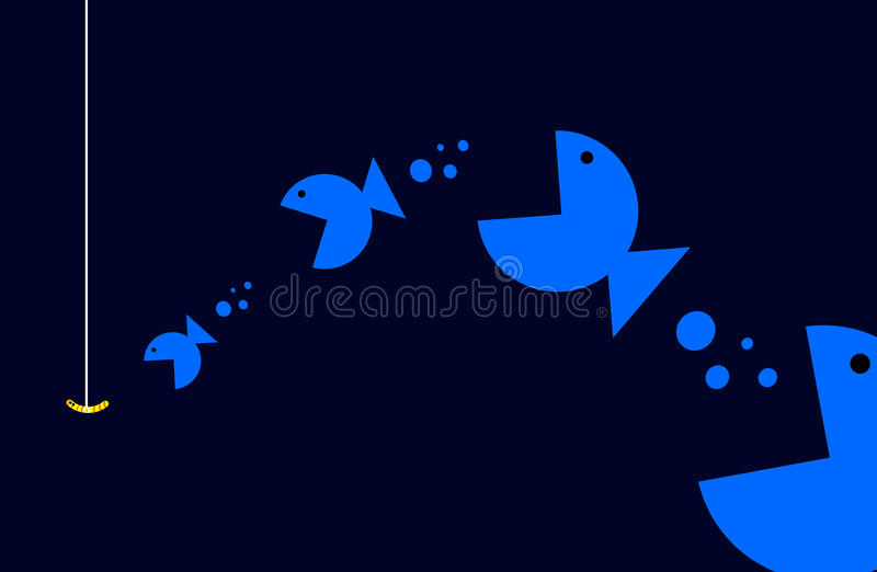 Food chain among fish. Vector art illustration stock illustration
