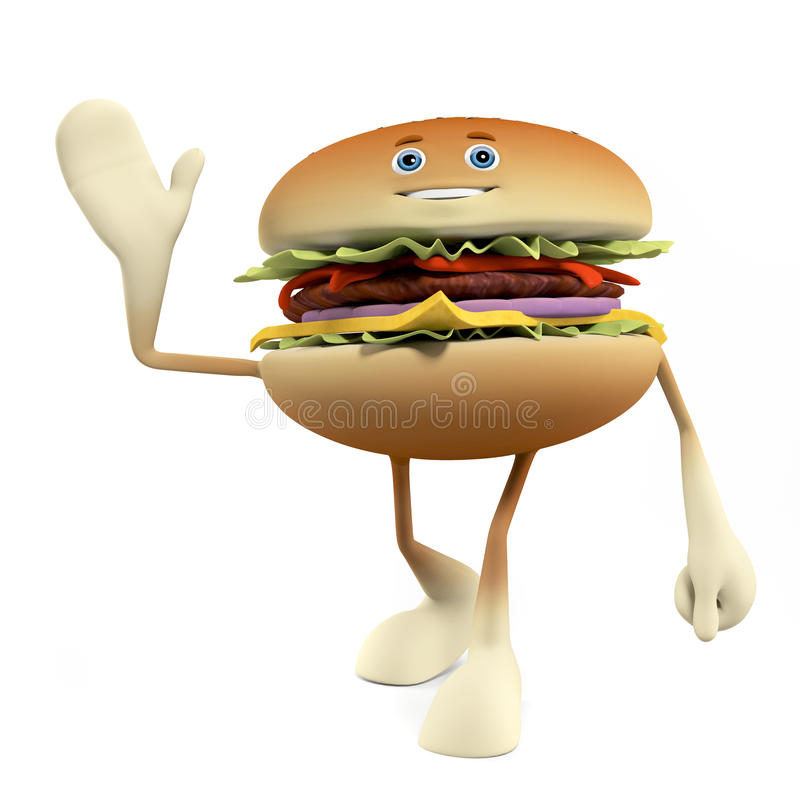 Download Food character - burger stock illustration. Illustration of american - 25373441