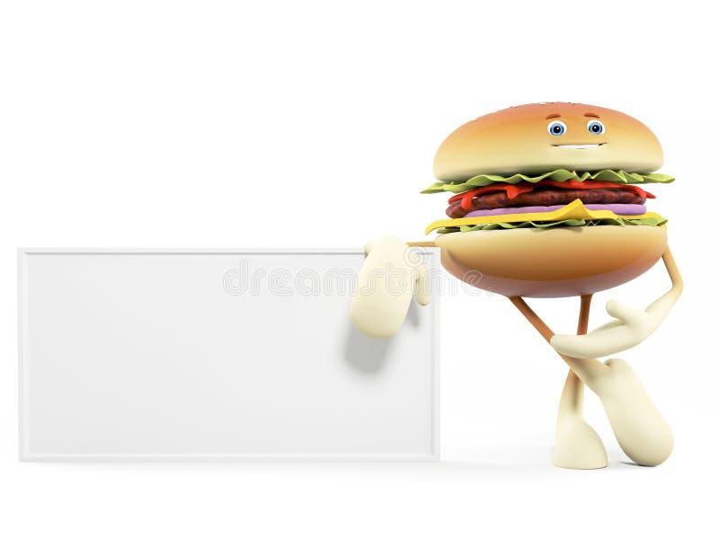 Download Food character - burger stock illustration. Image of board - 25374011