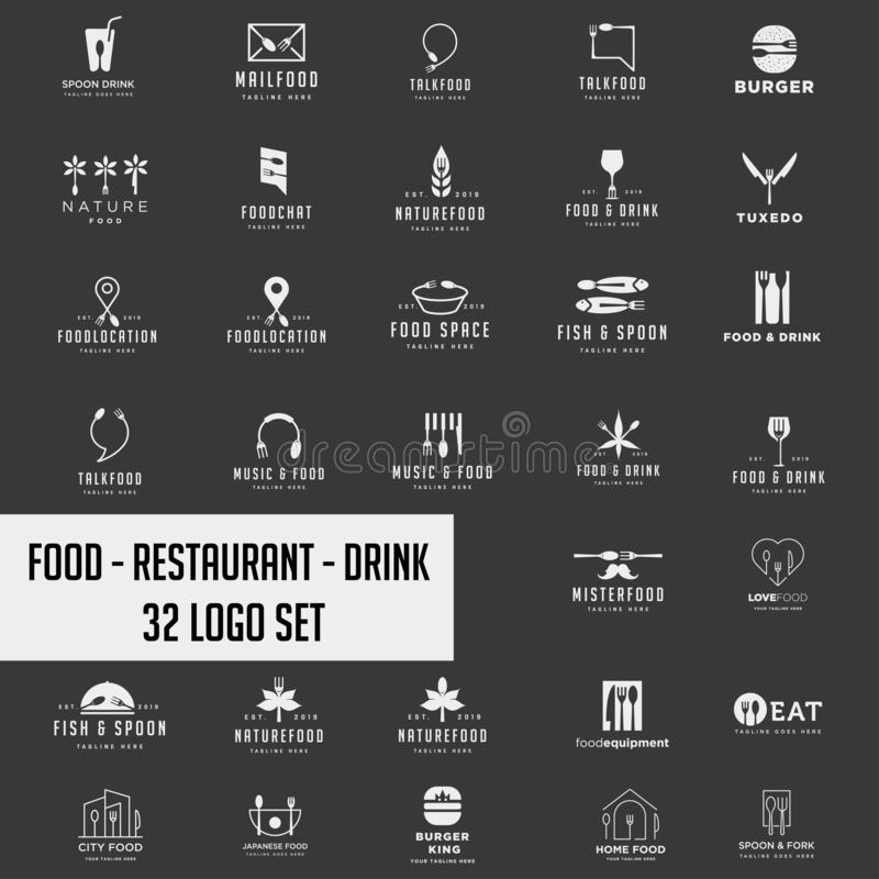 Food chef logo collection design vector icon element. Logo set download stock photography