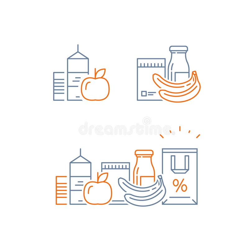 Food choice abundance, grocery food and drink, pile of products, consumption concept, retail store loyalty program, shopping bag. Grocery food and drink, pile of stock illustration