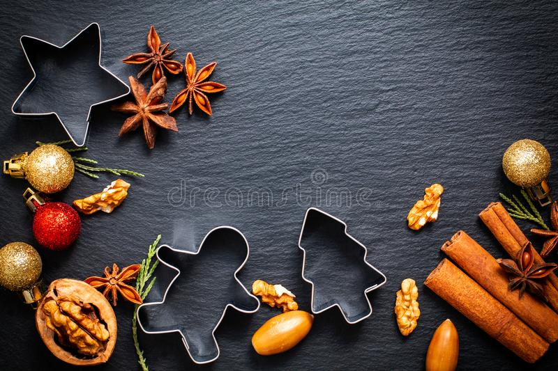 Food Christmas background for baking or cooking by spices, nuts stock image