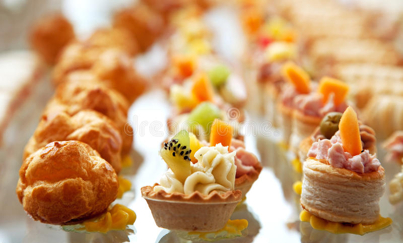 Food for cocktail on wedding party stock photography