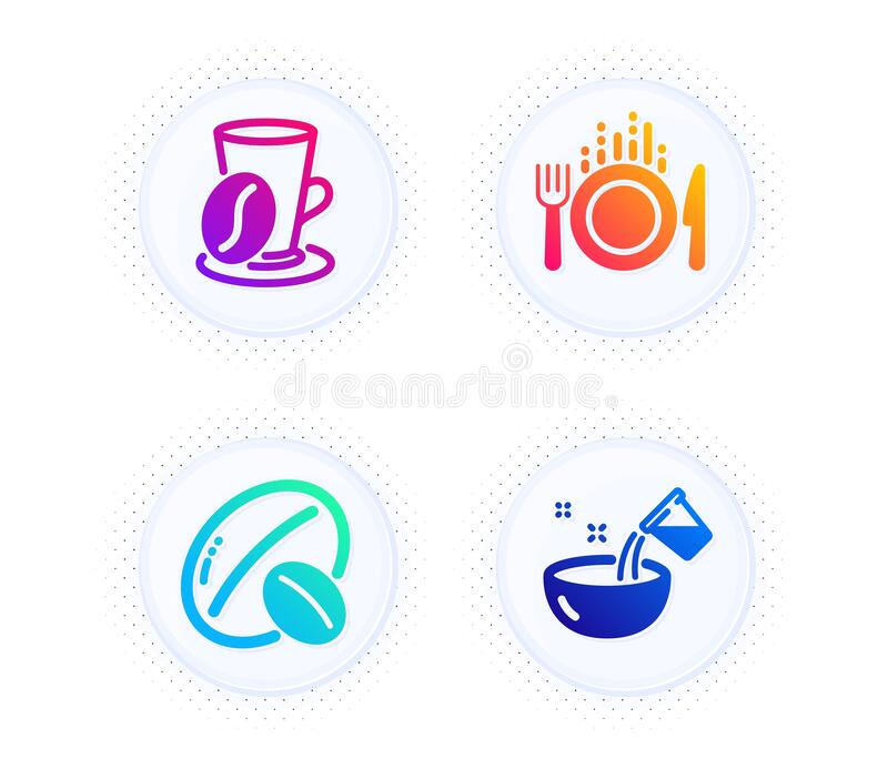Food, Coffee Cup And Soy Nut Icons Set. Cooking Water Sign