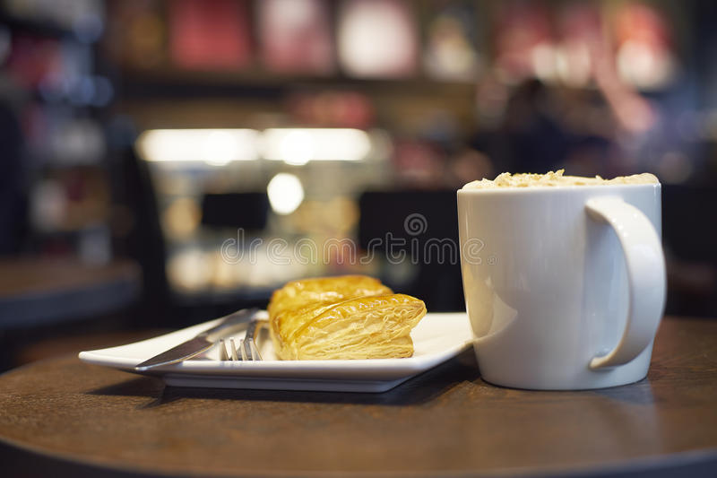 Food and coffee on table in cafe stock photo