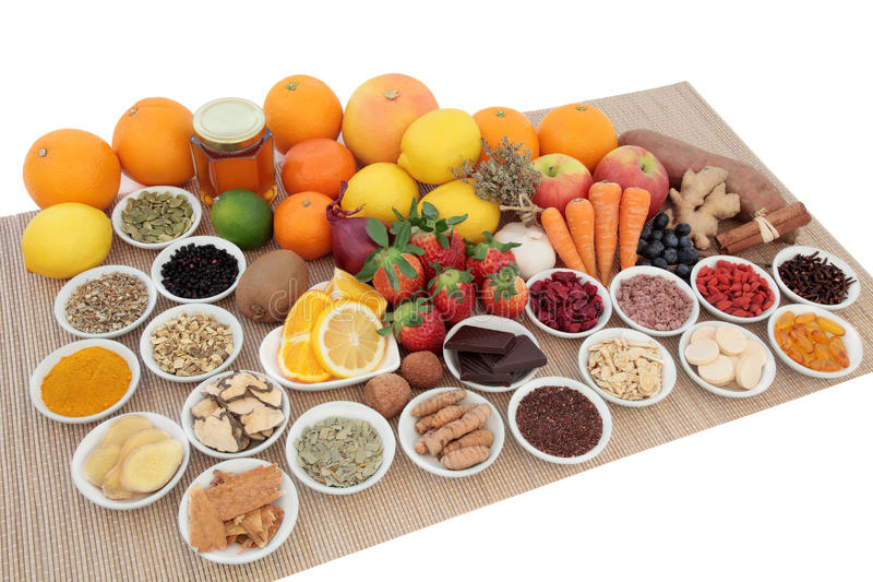 Food for Cold and Flu Remedy royalty free stock photo