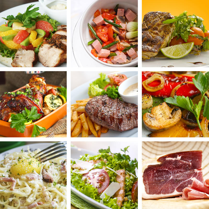 Food collage. Of nine delicious dishes royalty free stock photography