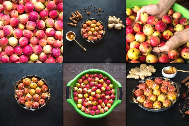 Food collage with baked apples in syrup with cinnamon and ginger stock photo