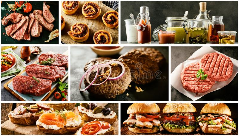 Food collage with barbecued meats and tapas. Food collage with barbecued meats including rump, fillet, steak, patties, burgers and savory tapas with seafood royalty free stock photo