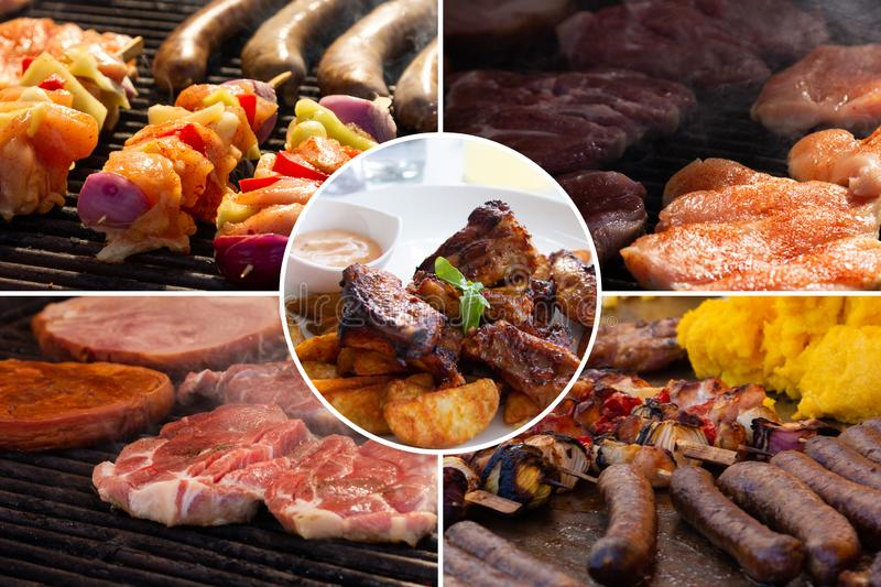 Food collage. Cooked food collage with European cuisine closeup on a dining table royalty free stock images