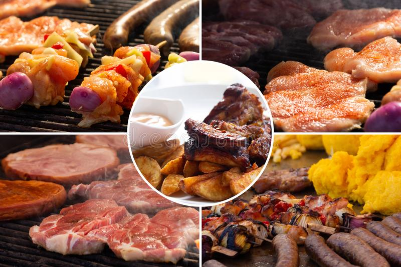 Food collage. Cooked food collage with European cuisine closeup on a dining table stock photo