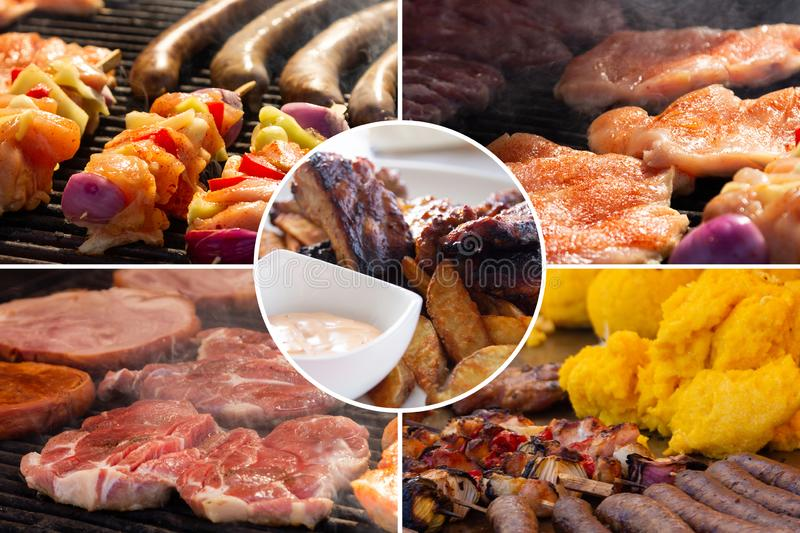 Food collage. Cooked food collage with European cuisine closeup on a dining table stock image