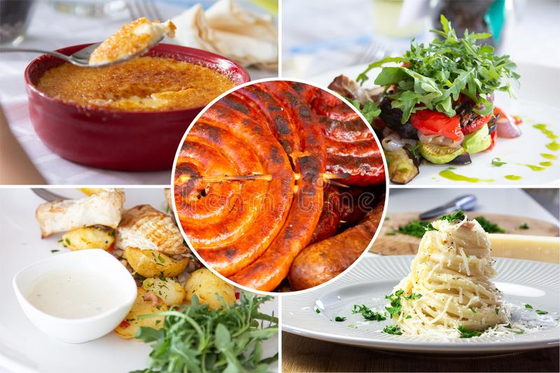 Food collage. With Crème Brûlée, vegetables, fried meat and other European cuisine on a dining table royalty free stock photo
